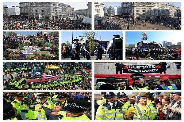 بازداشت معترضان به تغییرات اقلیمی در لندن از 1000 نفر فراتر رفت